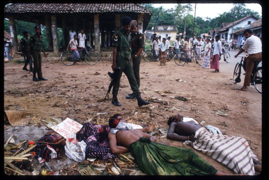 Bodies of JVP followers killed by the PRRA lie on the ground
